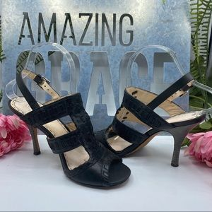 Coach 7.5 Black Leather Strappy Sandals
